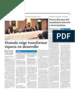 Humala Exige Trans for Mar Riqueza en Desarrollo