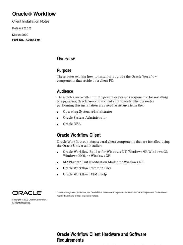 112_Workflow Client Installation Notes (Release 2 6