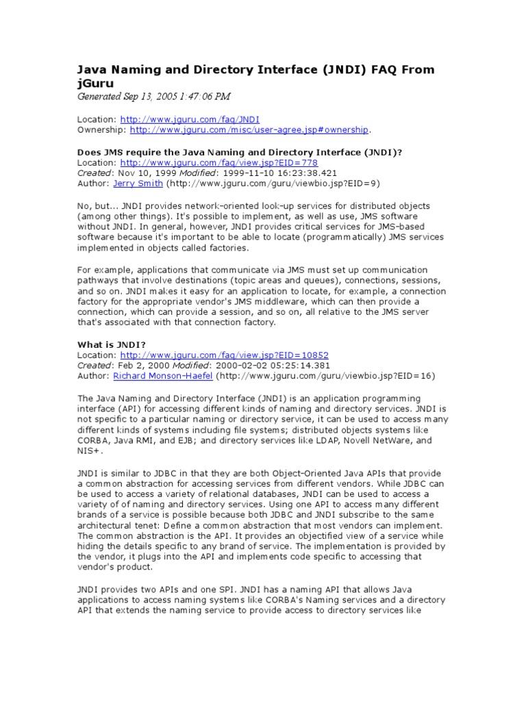 Java Naming and Directory Interface FAQ From jGuru | Domain