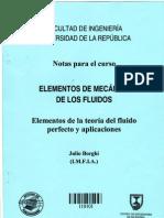 Mecánica de fluidos -ELEMENTOS DE LA TEORÍA DEL FLUIDO PERFECTO Y APLICACIONES-Julio Borghi-Facultad de Ingeniería-Universidad de la República Oriental del Uruguay