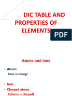 Periodic Table and Properties of Elements