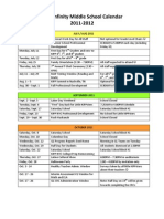 KIPP INF - 2011-2012 - Middle School Calendar - 2011-2012