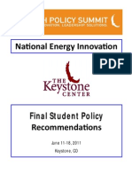 2011 Final Recommendations from Keystone National Youth Policy Summit