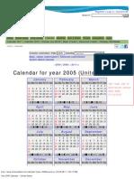 Year 2005 Calendar – United States