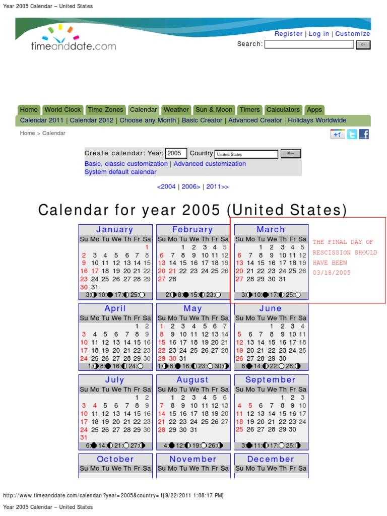 Year 2005 Calendar United States Holidays Christmas