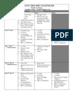 2011-2012 Calendar for Biology