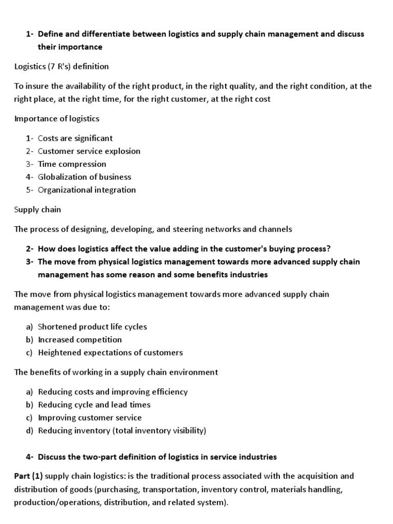 define and differentiate   logistics   supply chain