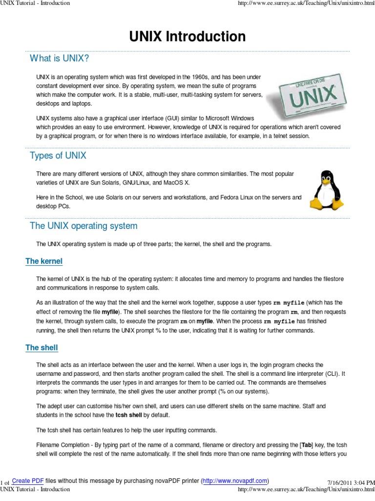 unix tutorial - introduction | command line interface | unix