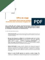 ANIS - Offre de Stage Communication 2011 - 2012