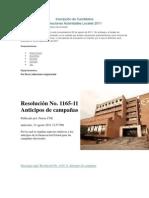 Resolución No. 1165-11 Anticipos de campañas