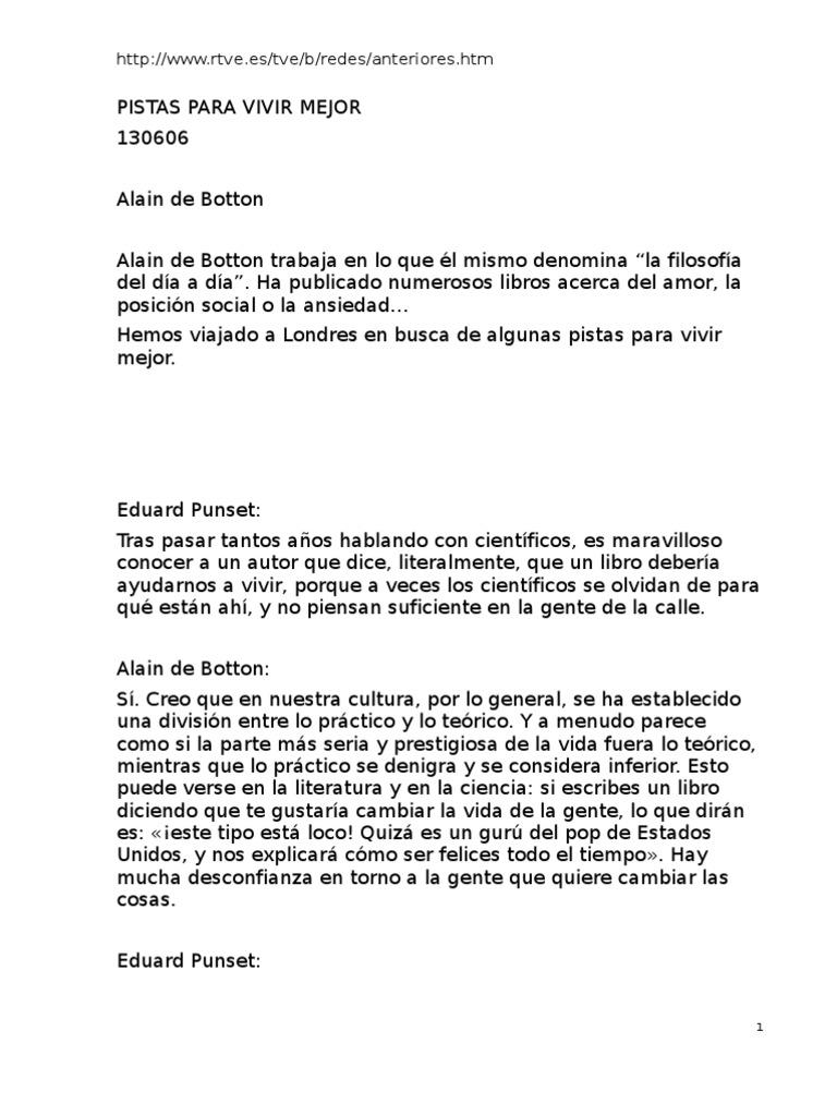 Ansiedad Por El Estatus Alain De Botton Pdf