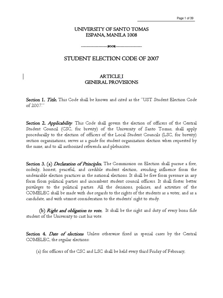 Ust Sec Of 2007 Commission On Elections Philippines Elections