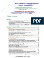 Health, Education, Social Protection News & Notes 20/2011
