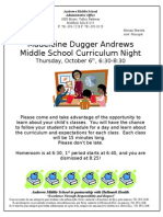 Andrews Middle School Curriculum Night
