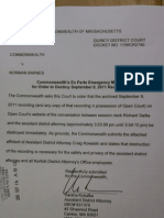 9-16-11 Commonwealth vs. Barnes - Ex Parte Motion by DA