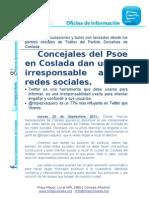 Concejales del Psoe en Coslada dan un uso irresponsable a las redes sociales.