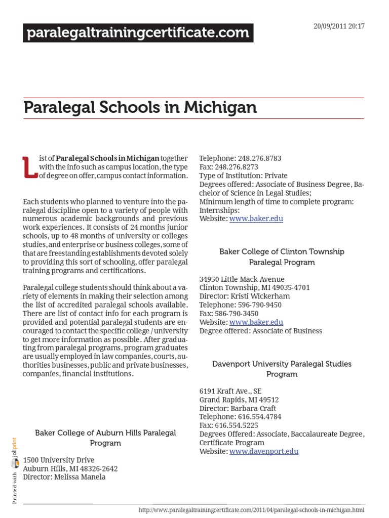 Paralegal Schools In Michigan Paralegal Academic Degree
