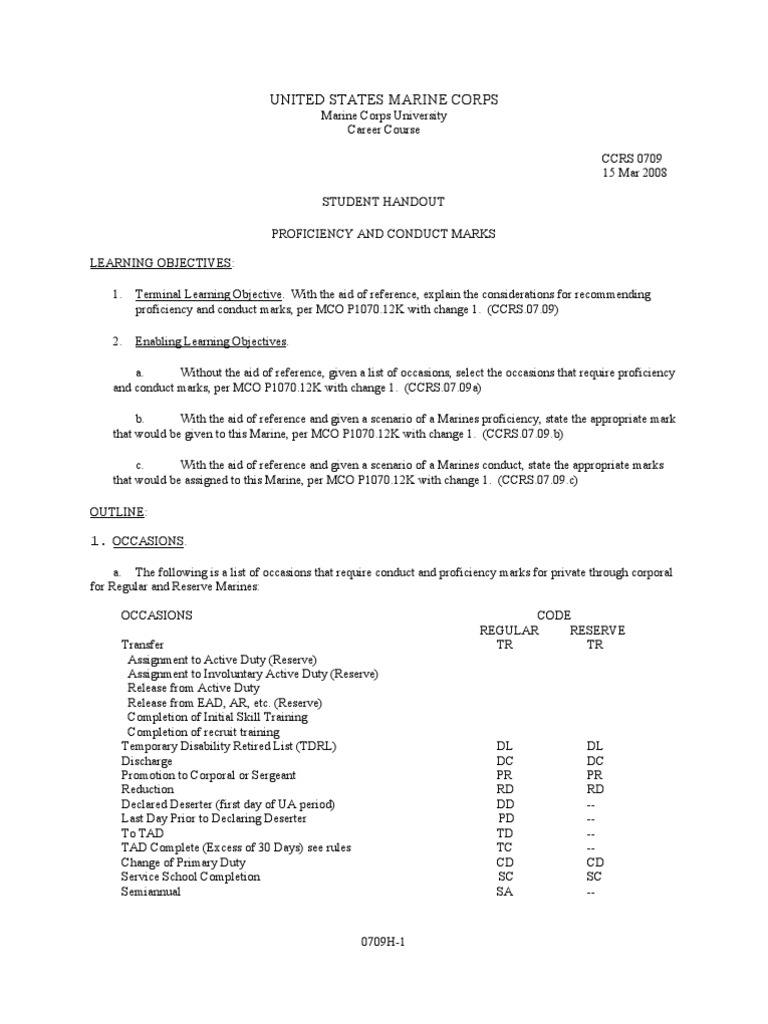 0709 SH Proficiency and Conduct Marks – Pro Con Worksheet Usmc