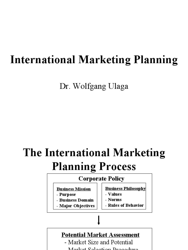 planning for international marketing International marketing is multinational process of planning and executing the conception, pricing, promotion, and distribution of ideas, goods, and services to create exchange that satisfy individual and organisational objectives availability of the advanced communication and transportation.