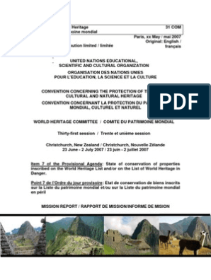 Report Mission To The Historic Sanctuary Of Machu Picchu