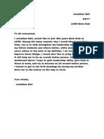Beta Club Intent Letter