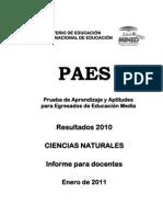 Ciencias Naturales Result a Dos PAES 2010 Informe Para Docentes