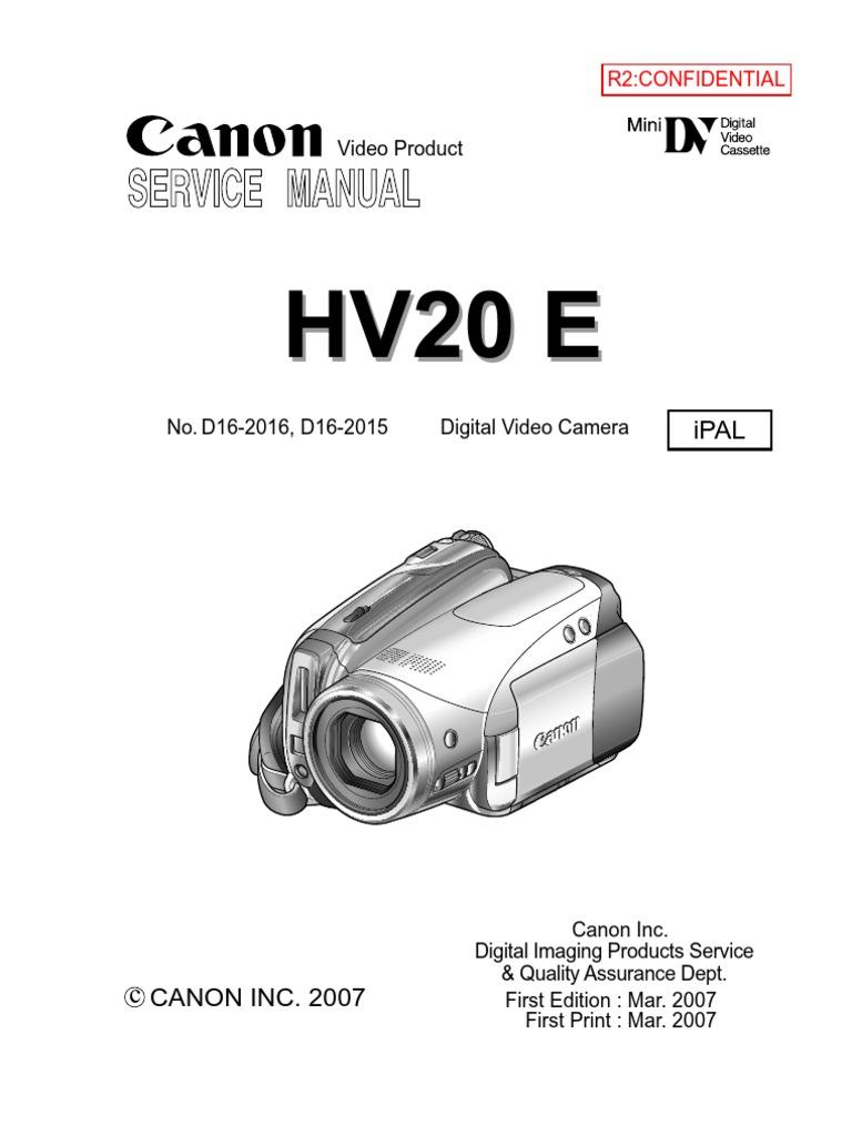 canon hv20 e ipal parts list service manual image stabilization rh scribd com canon hv20 service manual download Canon Rebel T3i