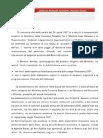 Incontro Al Ministero Della Funzione Pubblica Fra Il Ministro Luigi Nicolais e Le Organizzazioni Sindacali