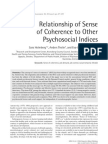 Relationship of Sense of Coherence to Tother Psichosocial Indices
