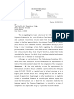 Prashant Bhushan's Letter to PM