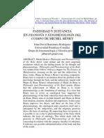 Pasividad y sustancia en Filosofía y fenomenología del cuerpo de Michel Henry. John David Barrientos.