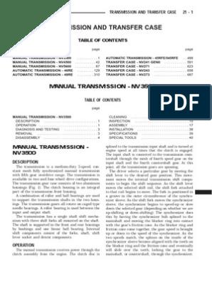 2003 NV3500 Service Manual | Manual Transmission
