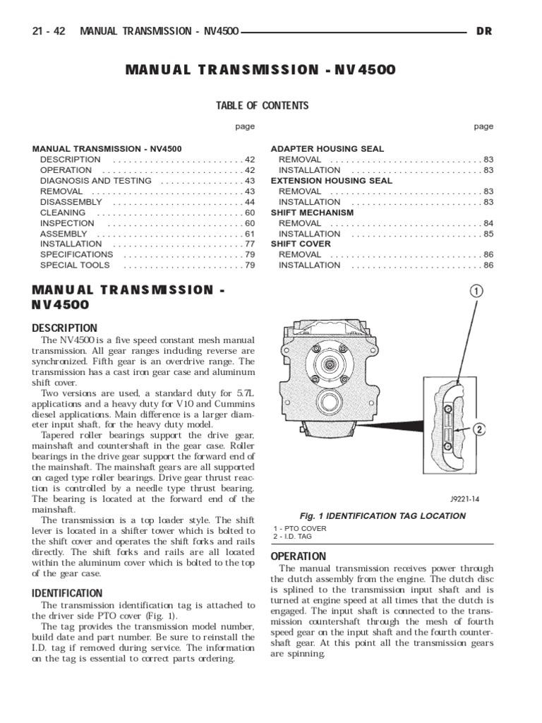 2003 NV5600 Service Manual   Manual Transmission   Transmission