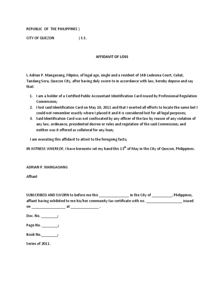 Affidavit of Loss PRC ID – Affidavit of Loss Template