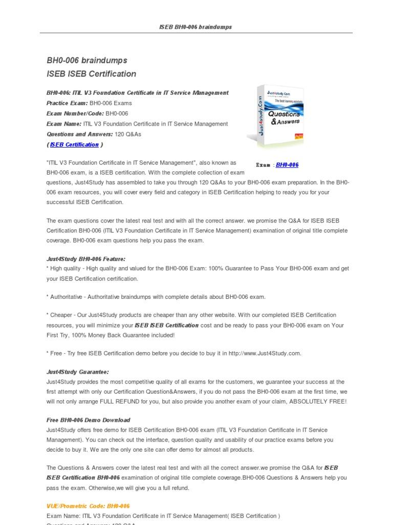 Just 4 Study Bh0 006 Pdf Itil Information Management