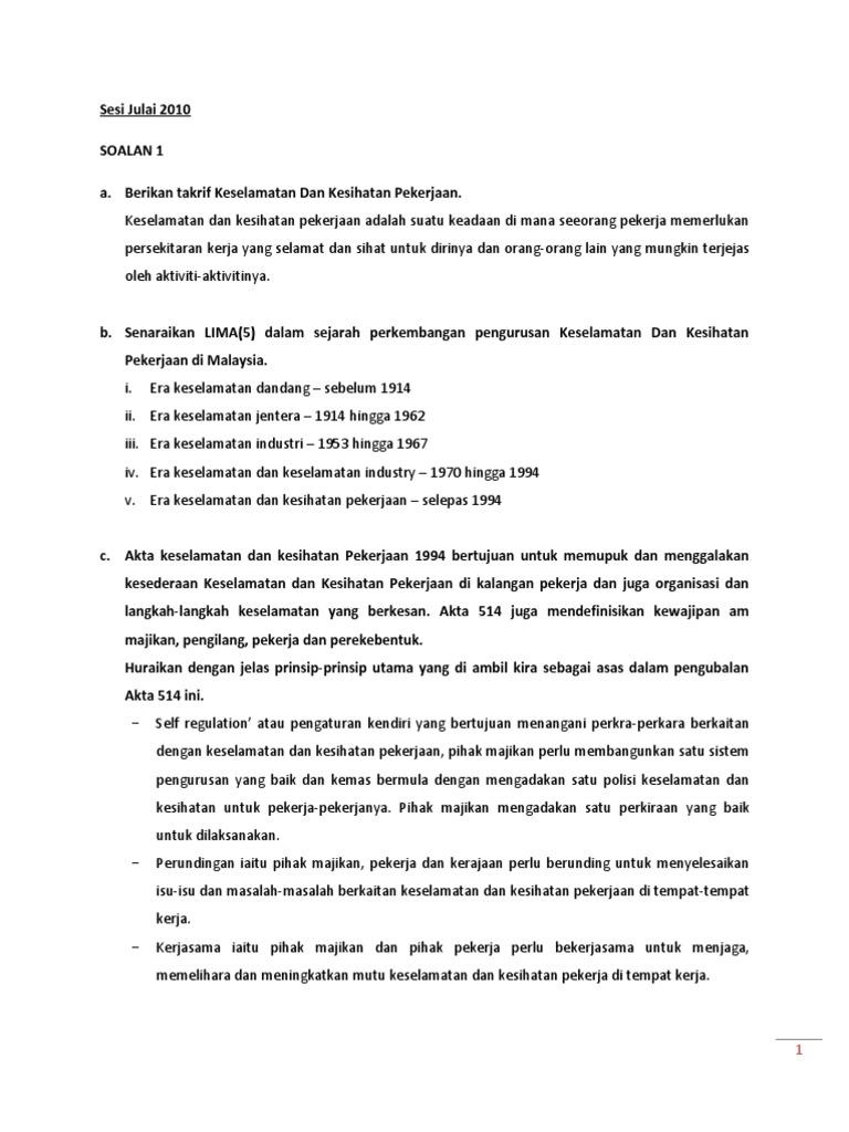 Psas Keselamatan Kesihatan Pekerjaan C1043 Soalan Final Tugasan 2