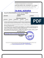 Formato modelo ejemplo CARTA AVAL AGRÍCOLA