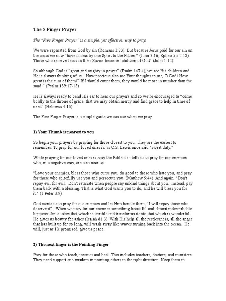 The 5 Finger Prayer | Prayer | Sin
