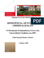 Resistência, Ocupação e Criminalização