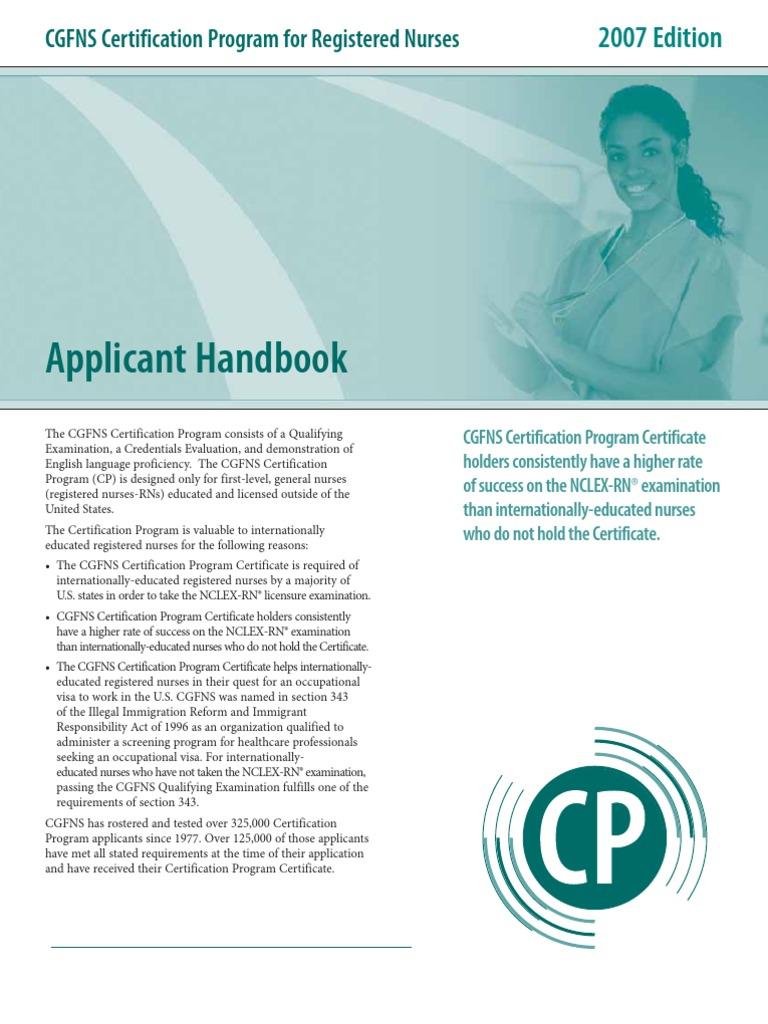 Cgfns Form Licensure Nursing