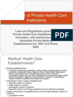 Regulation of Private Health Care Institutions