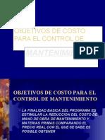 Objetivos de Costo Para El Control de Maya