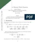 Ramanujan's Harmonic Number Expansion
