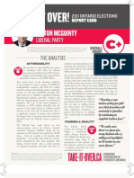 CFS Ontario 2011 Liberal Party Report Card on PSE