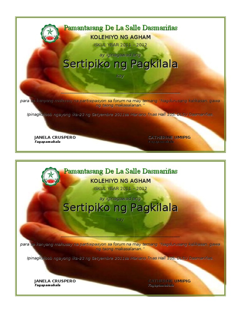 Certificategkilala yelopaper Images