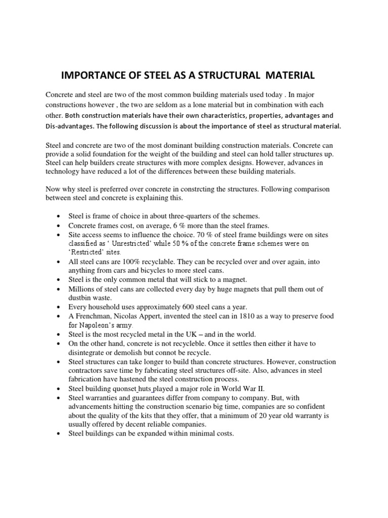 Steel as a Structural Material | Concrete | Steel