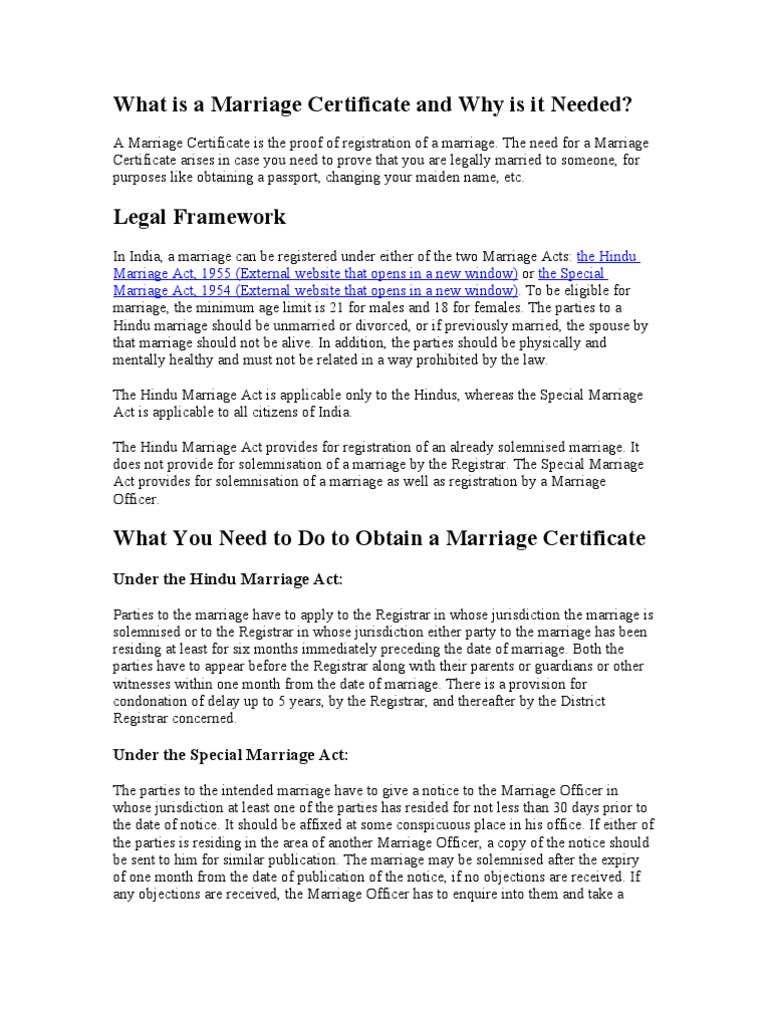 What is a Marriage Certificate and Why is It Needed   Marriage ...
