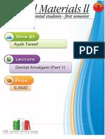 Lecture 1, Dental Amalgam (Script)