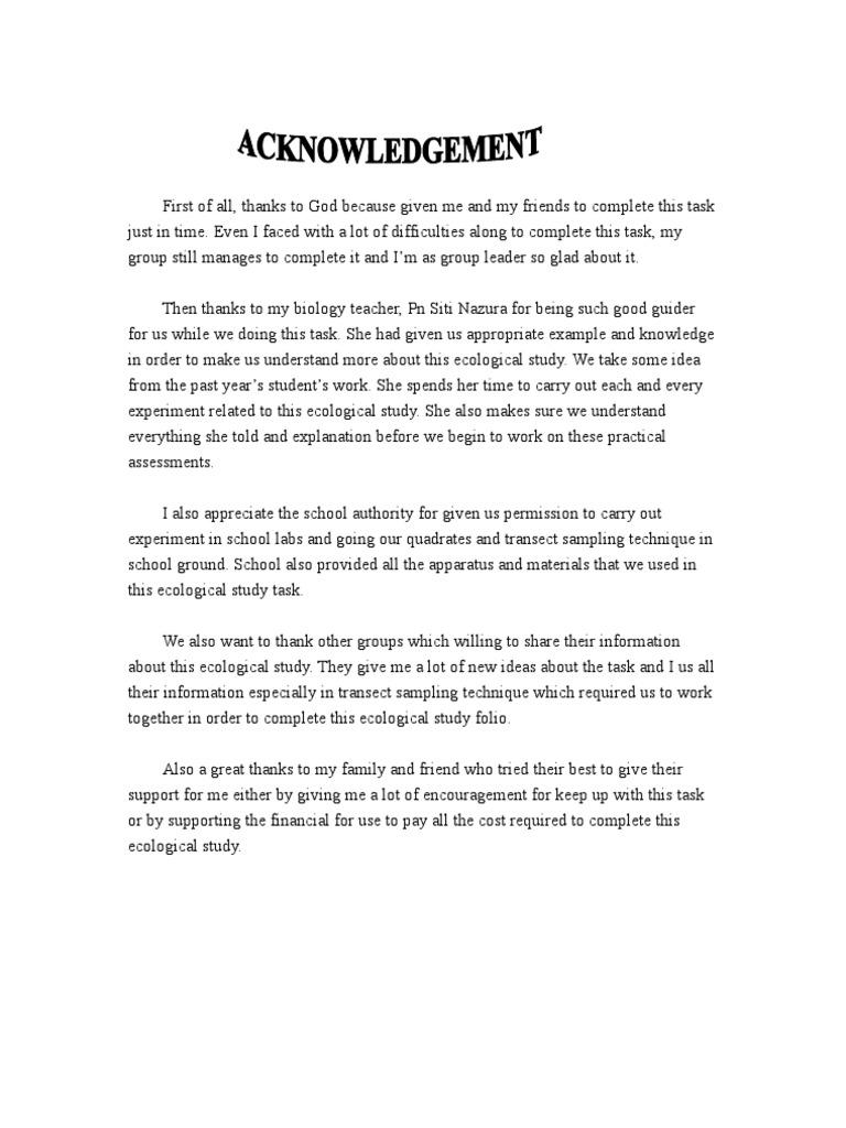contoh Acknowledgement – Acknowledgement Report Sample