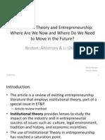 Article Review - Institutional Entrepreneurship